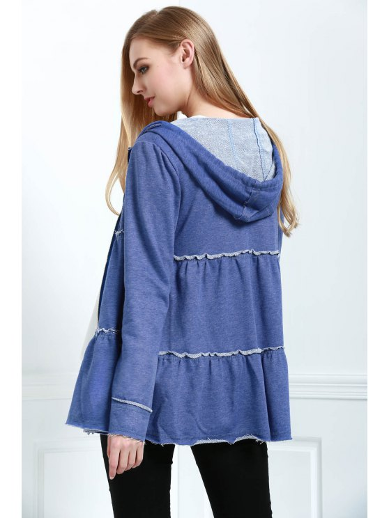 fashion Tiered Trapeze Zip Sweatshirt - SAPPHIRE BLUE S