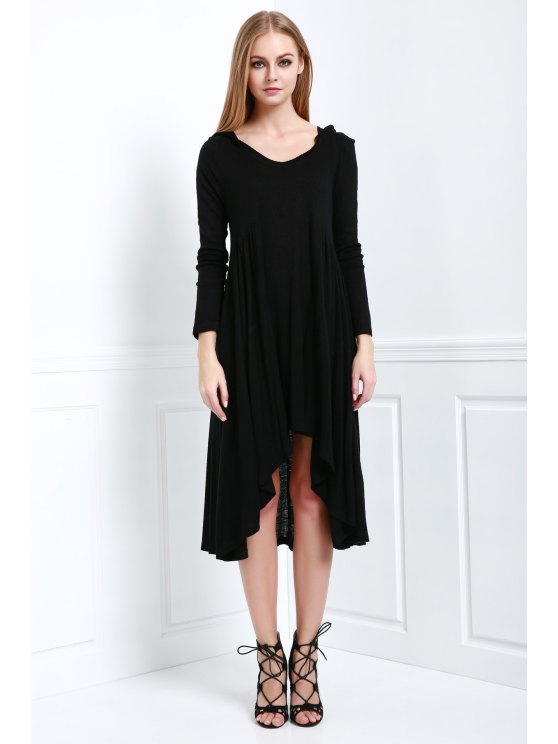 Solid Color Hooded Long Sleeve Dress - BLACK M Mobile