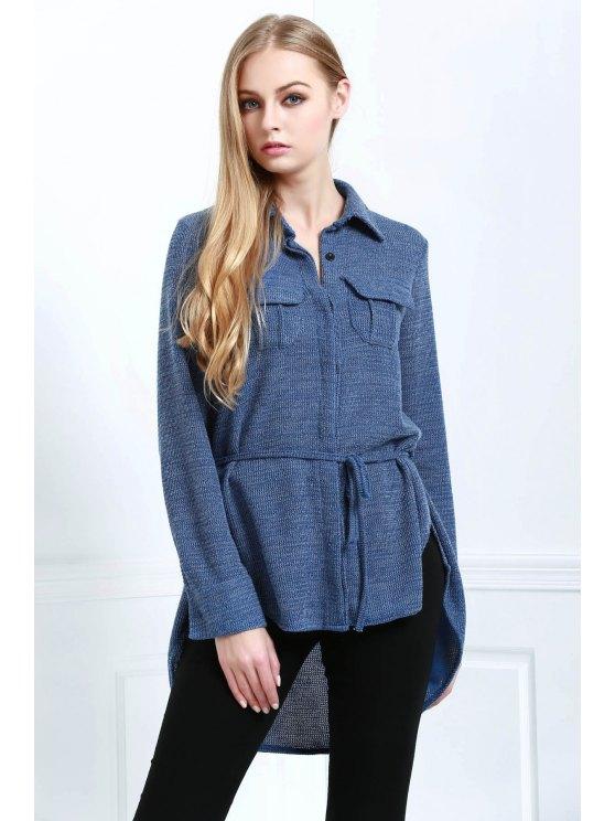 hot Blue Shirt Neck Long Sleeve Coat - BLUE S