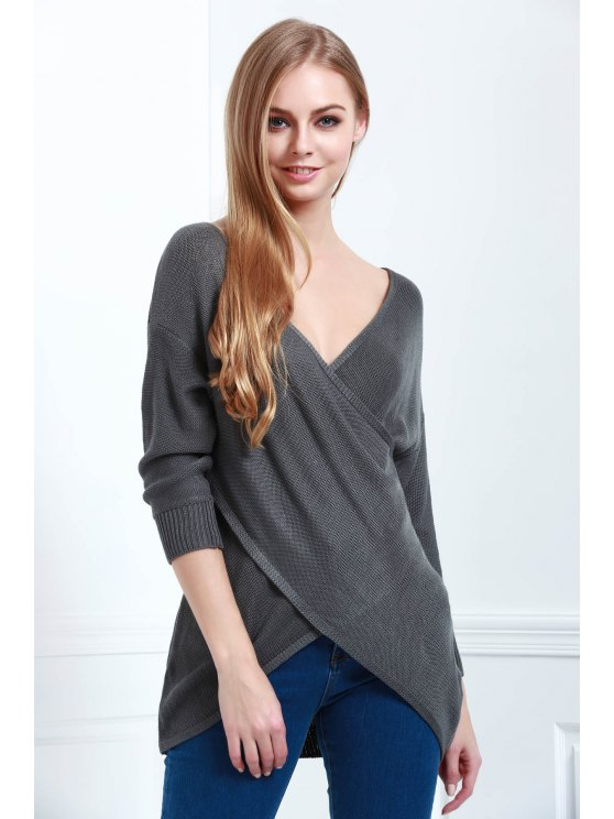 Crossover Pullover Sweater - DEEP GRAY M Mobile