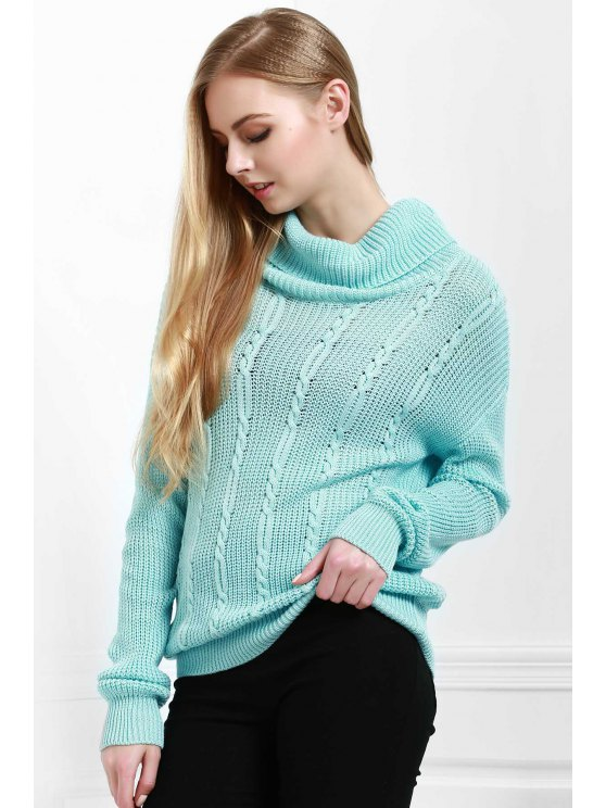 shops Solid Color All Match Loose Fitting Turtle Neck Sweater - BLUE XS