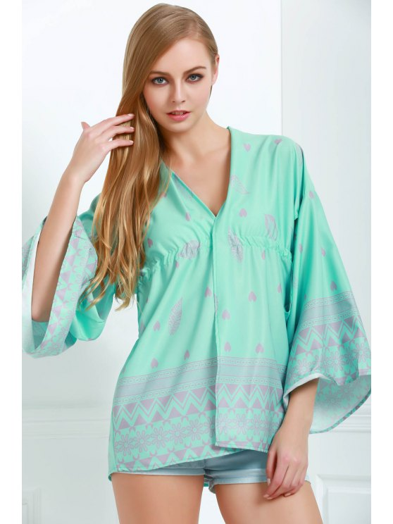 best Printed Cut Out Bell Sleeves Cover-Up - GREEN S