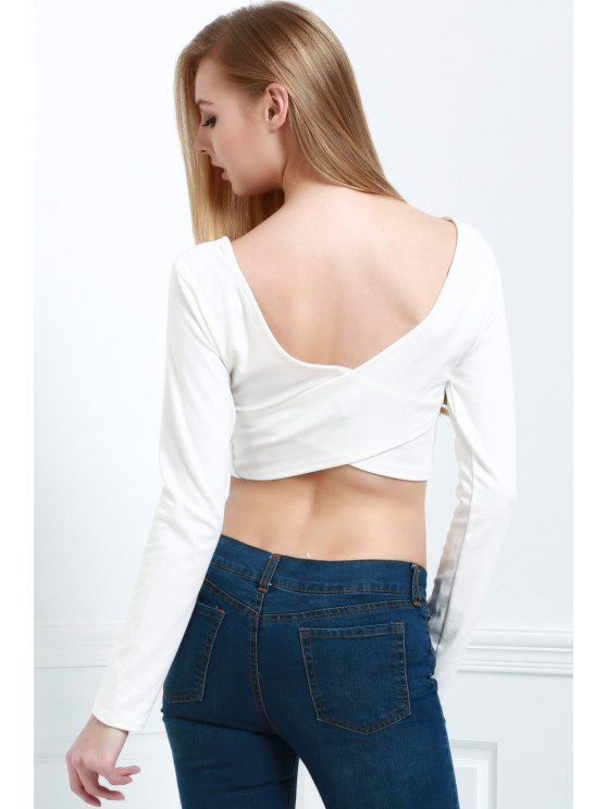 online Back Cross Solid Color Long Sleeve Crop Top - WHITE L