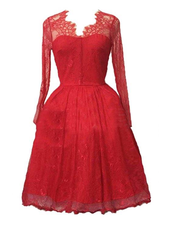 Encaje con cuello en V manga larga vestido de bola del vestido - Rojo XL