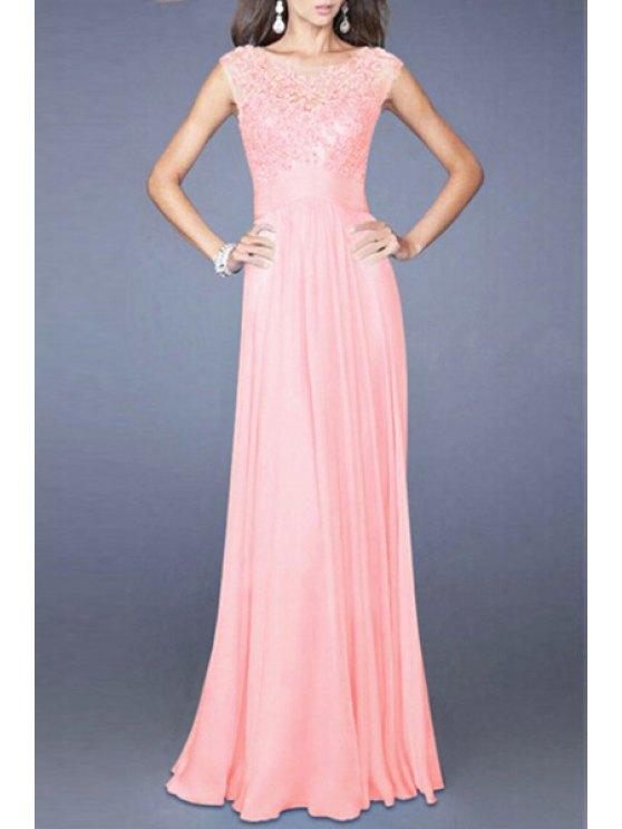 chic Lace Bodice Chiffon Dress - PINK M