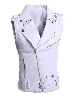 Turn-Down Collar Zipper Design Sleeveless PU-Leather Waistcoat For Men - White L