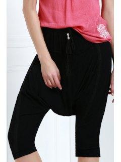 Drawstring Capri Harem Pants - Black M