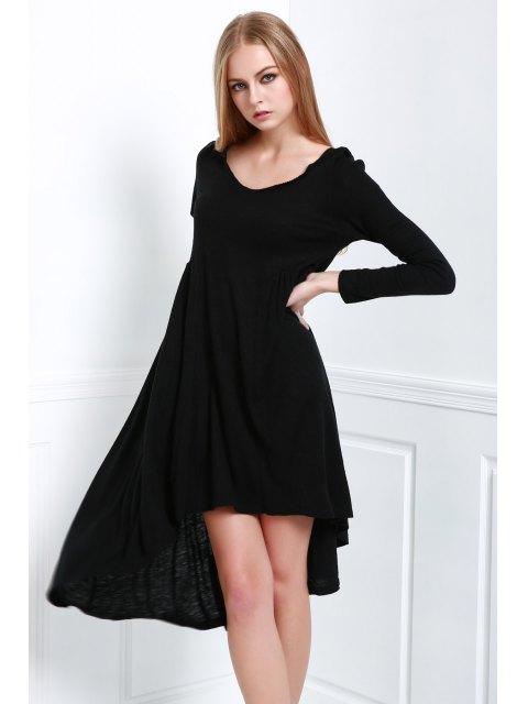 trendy Solid Color Hooded Long Sleeve Dress - BLACK M Mobile