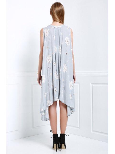unique Print Keyhole Swing Dress - LIGHT BLUE S Mobile
