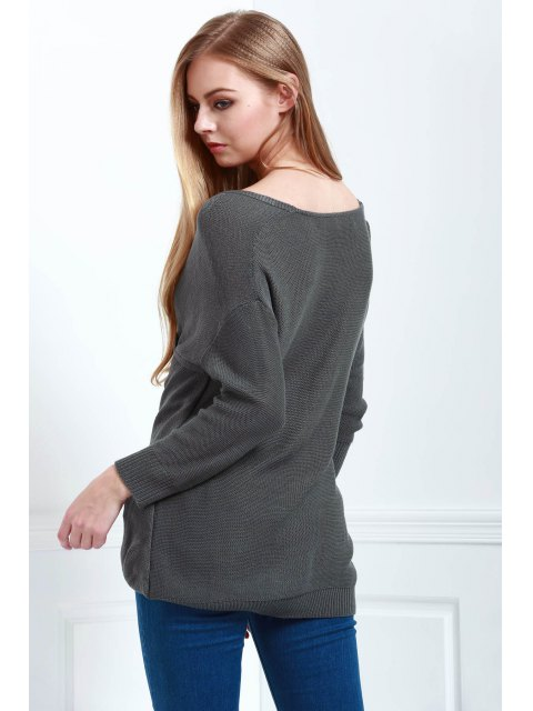 unique Crossover Pullover Sweater - DEEP GRAY M Mobile