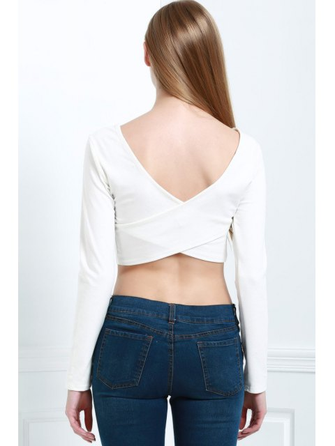 online Back Cross Solid Color Long Sleeve Crop Top - WHITE L Mobile
