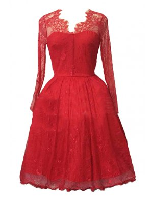 Sexy Lace Long Sleeve Ball Gown Birthday Dress - Red
