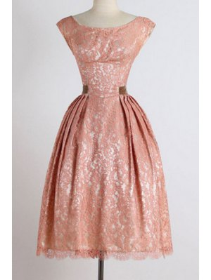 Sleeveless Boat Neck Ball Gown Dress - Pink