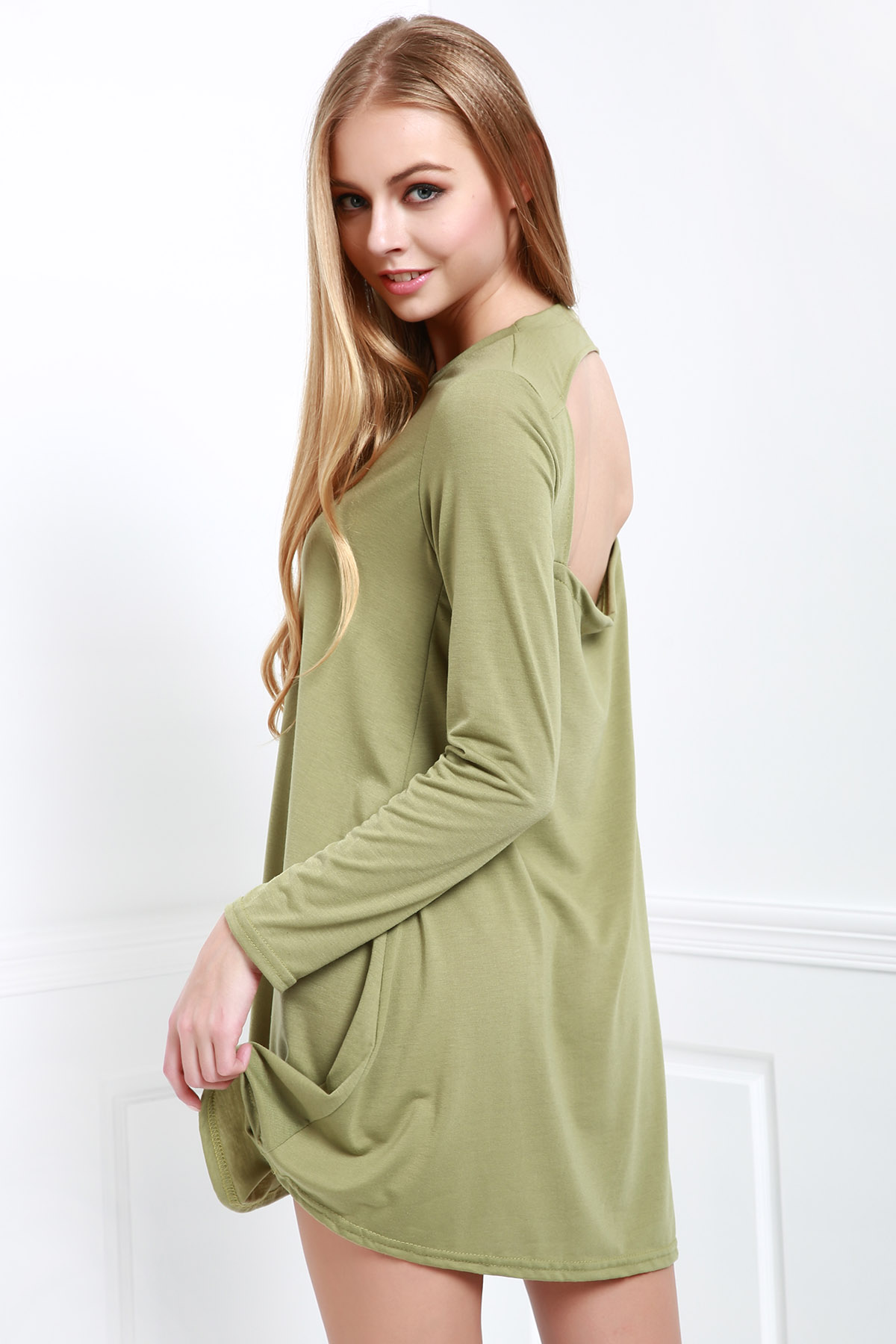 Long Sleeve Hollow Back Green Dress - ARMY GREEN S