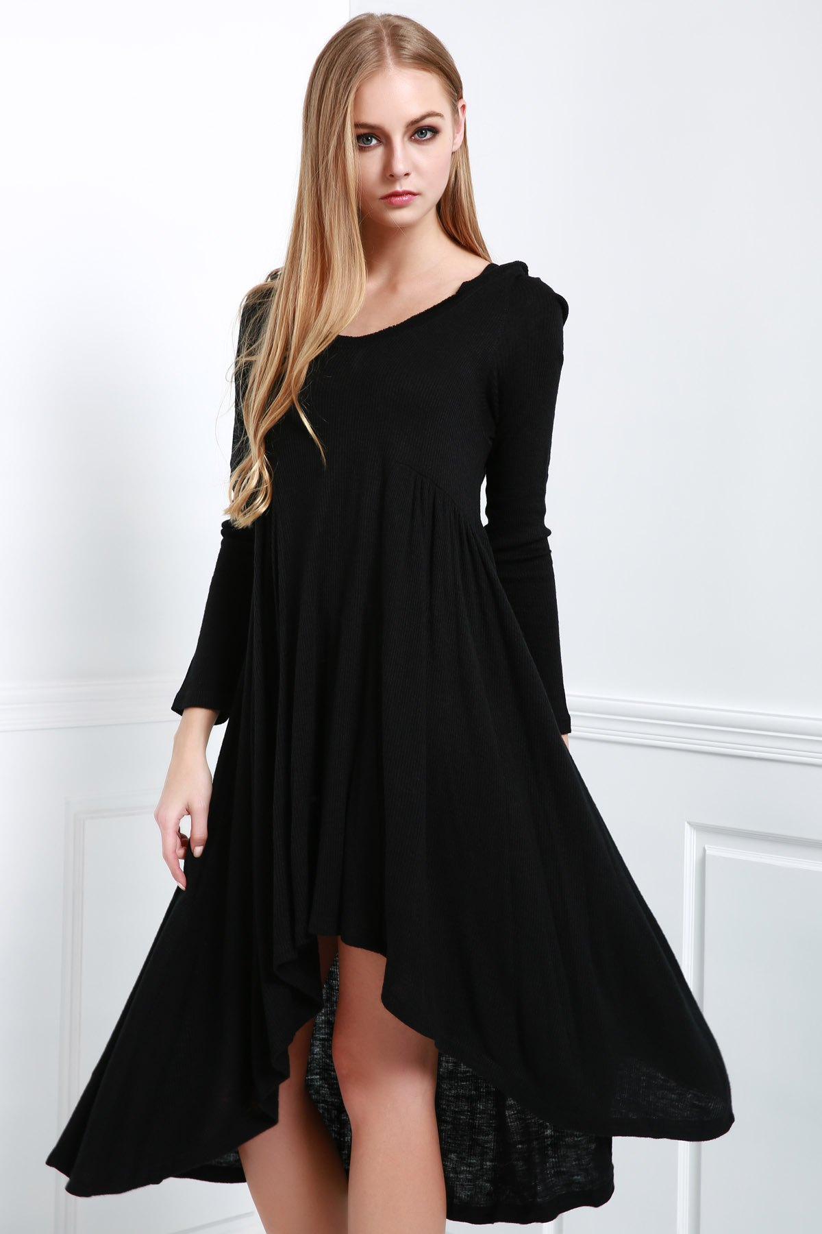 Hooded Long Sleeve Solid Color Dress