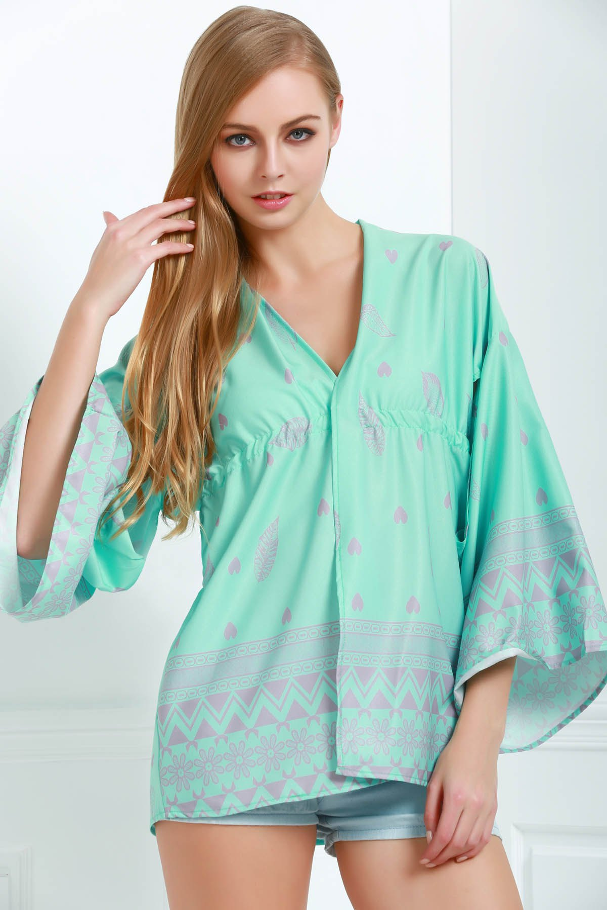 Printed Cut Out Bell Sleeves Cover-Up - GREEN S