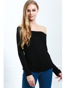 Slash Neck Long Sleeve Cassiopia Tee - Black M