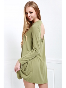 Long Sleeve Hollow Back Green Dress