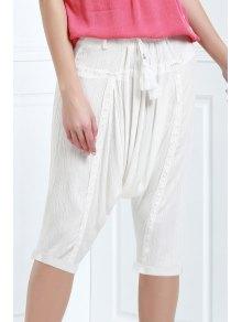 Drawstring Capri Harem Pants - White Xl