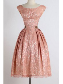 Sleeveless Boat Neck Ball Gown Dress - Pink M