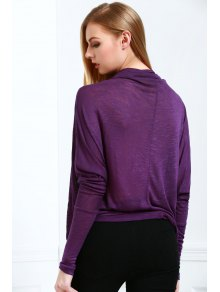 Plunging Neck Long Sleeve Loose Knitwear - DEEP PURPLE ONE SIZE(FIT SIZE XS TO M)