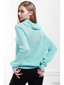 Solid Color All Match Loose Fitting Turtle Neck Sweater - BLUE XS