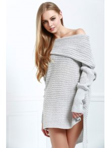 Off-The-Shoulder Solid Color Side Slit High-Low-Hem Sweater