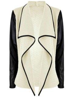 PU Leather Spliced Turn-Down Collar Long Sleeve Coat - Apricot 2xl