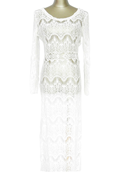Scoop Neck Long Sleeve White Lace Maxi Cover-Up