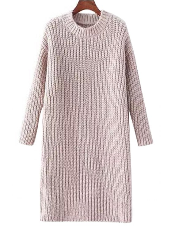 new Solid Color Mock Neck Thicken Sweater Dress - PINK ONE SIZE(FIT SIZE XS TO M)