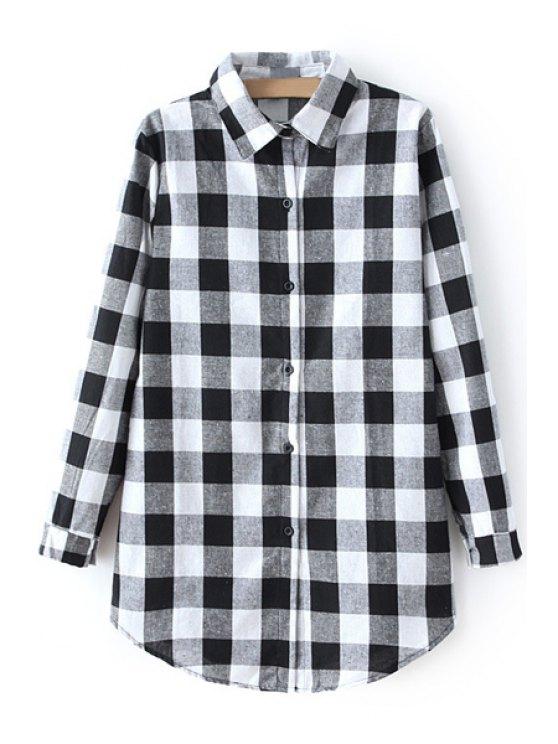 trendy Checked Shirt Collar Long Sleeve Shirt - WHITE XL