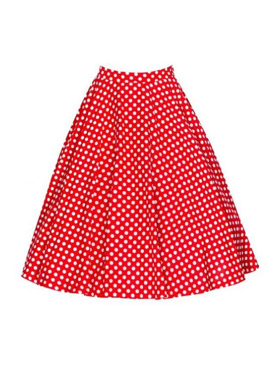 shop Polka Dot Print High Waist Flare Skirt - RED S
