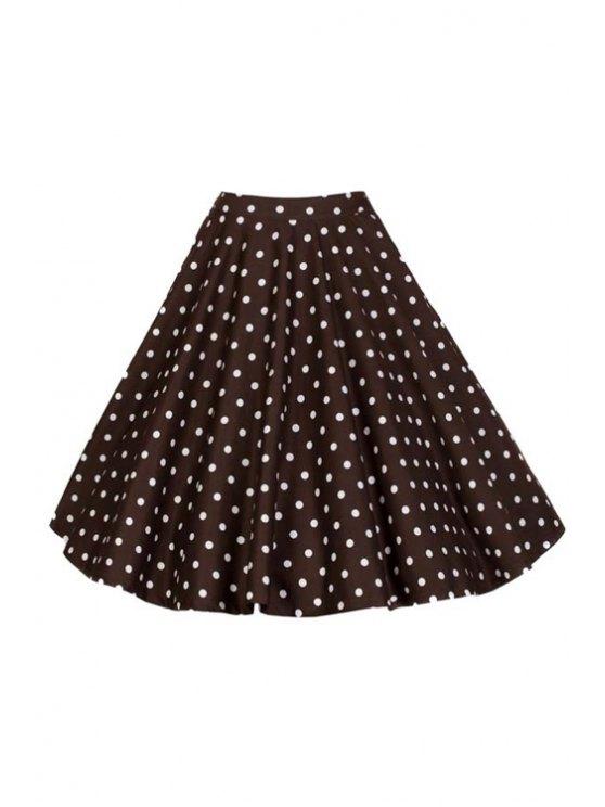 Polka Dot Print Talle alto llamarada falda - Marrón XL
