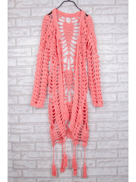 Hollow Out Crochet V Neck Long Sleeve Coat - PINK ONE SIZE(FIT SIZE XS TO M) Mobile