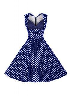 Polka Dot V Neck Sleeveless Flare Dress - Blue L