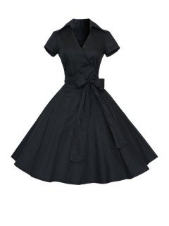 Solid Color Turn Down Collar Short Sleeve Flare Dress - Black L