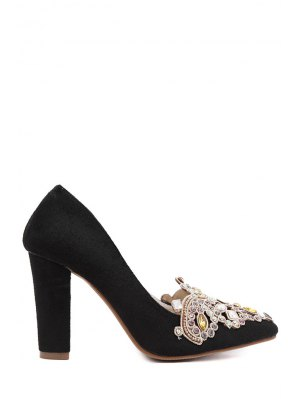 Colorful Rhinestone Chunky Heel Suede Pumps - Black