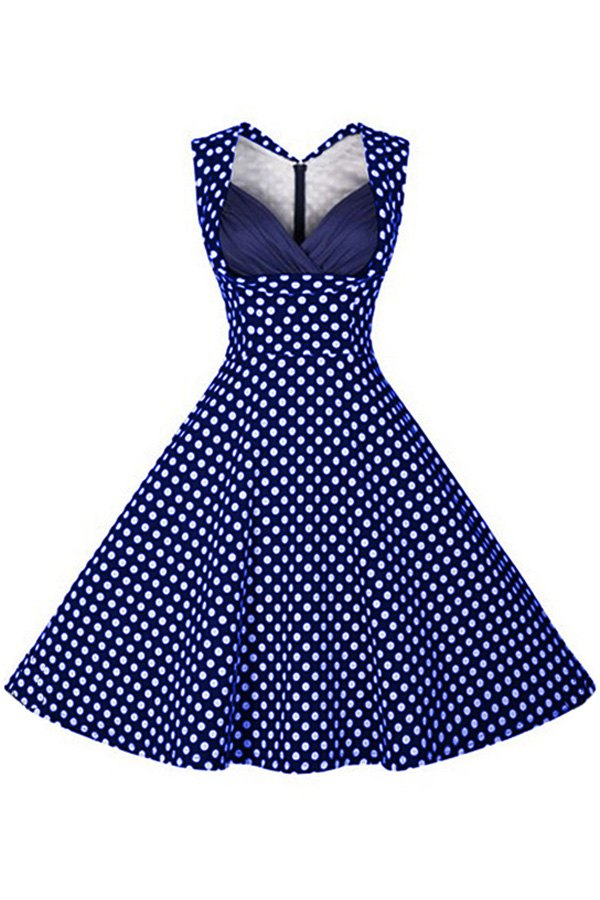 V Neck Sleeveless Polka Dot Flare Dress