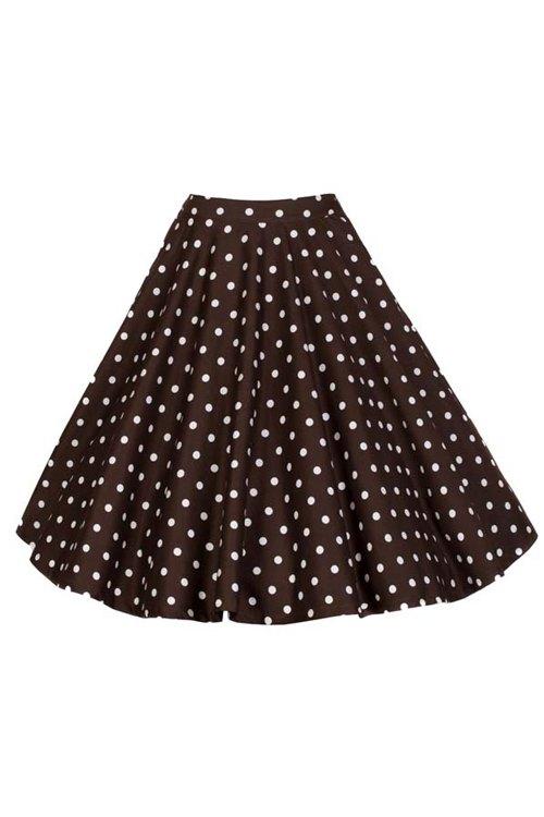 High Waist Polka Dot Print Flare Skirt