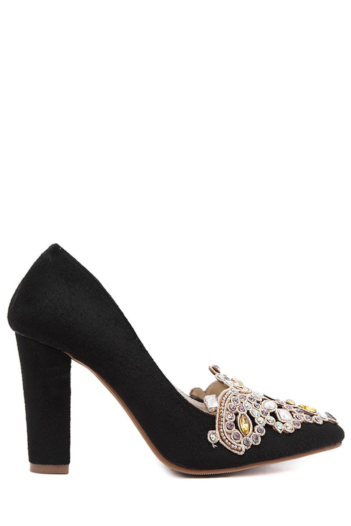 Colorful Rhinestone Chunky Heel Suede Pumps