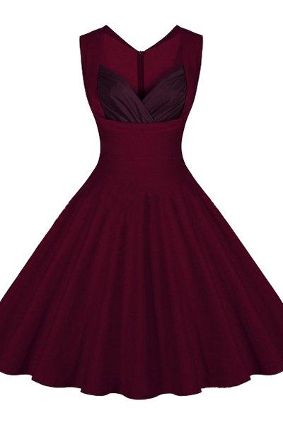 Pure Color V-Neck Sleeveless Flare Dress