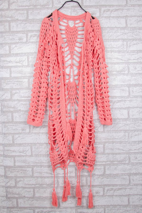 Hollow Out Crochet V Neck Long Sleeve Coat
