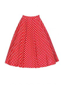 Polka Dot Print High Waist Flare Skirt