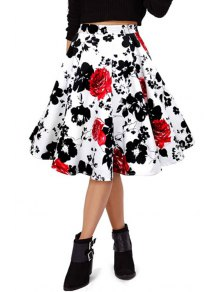 Red Floral High Waist Flare Skirt