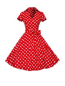 Polka Dot Turn Down Collar Short Sleeve Flare Dress - Red With White Xl