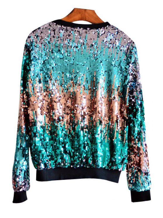 Multicolored Sequin Bling Sweatshirt - GREEN ONE SIZE(FIT SIZE XS TO M) Mobile