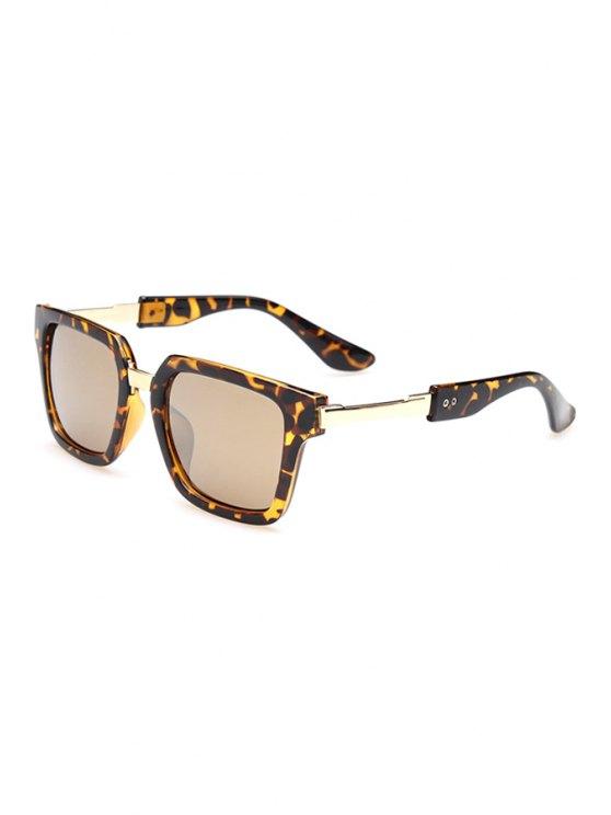 outfits Leopard Pattern Metallic Splice Sunglasses - DEEP BROWN