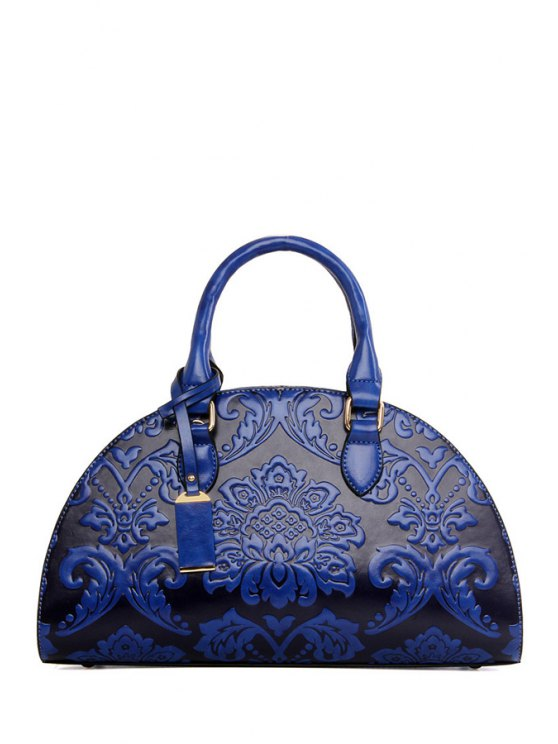 women's Floral Embossing Pendant Tote Bag - BLUE