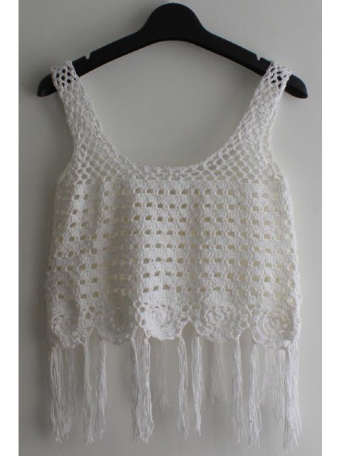 best Sleeveless Tassel Crochet Cover-Up - WHITE ONE SIZE(FIT SIZE XS TO M) Mobile