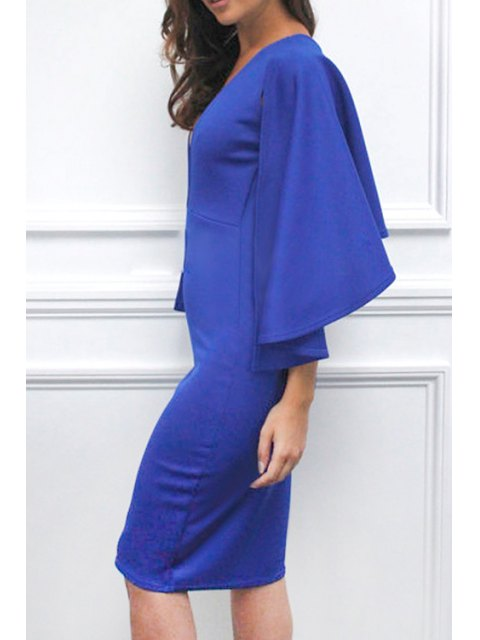 women's Solid Color Plunging Neck Cape Dress - BLUE L Mobile